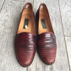 Cole Haan Alligator Embossed Brown Loafers Size 8